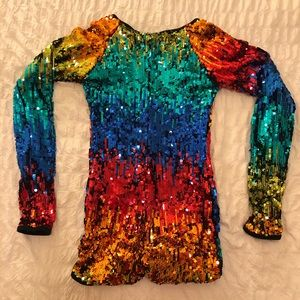 Rainbow sequins body suit long sleeve